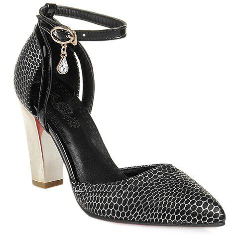 Fashionable Pointed Toe and Chunky Heeled Design Pumps For Women - BLACK 39