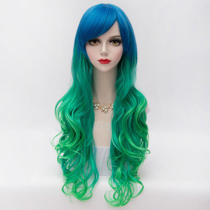 Fluffy Wavy Blue Green Gradient Gorgeous Long Side Bang Synthetic Party Wig For Women