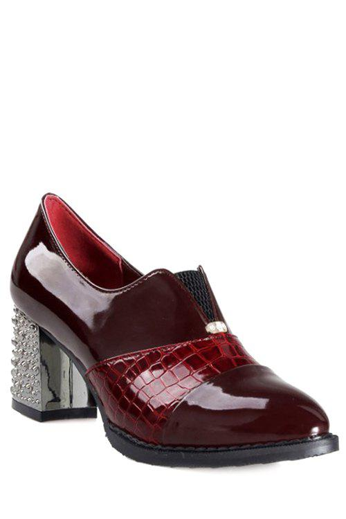 Stylish Stone Pattern and Chunky Heel Design Pumps For Women - RED 39