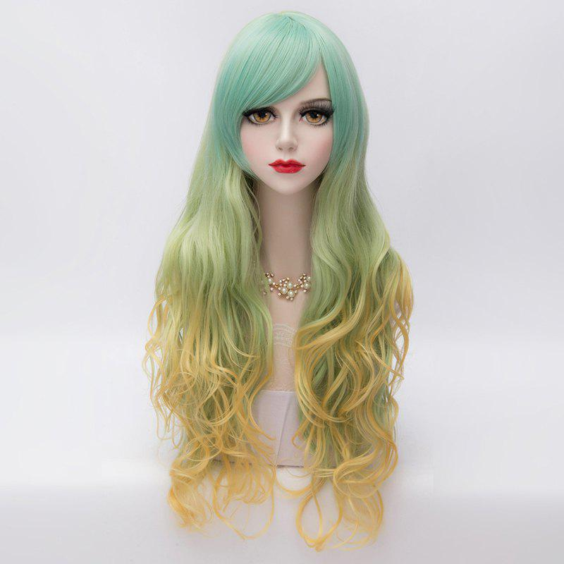 Stunning Side Bang Synthetic Fluffy Wavy Long Layered Three Colors Gradient Party Wig For Women - COLORMIX
