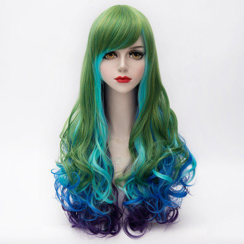 Vogue Side Bang Multicolor Gradient Lolita Long Synthetic Shaggy Wave Party Wig For Women - COLORMIX