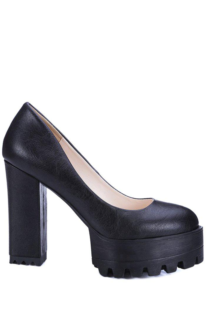 Trendy Solid Color and Chunky Heel Design Pumps For Women - BLACK 36