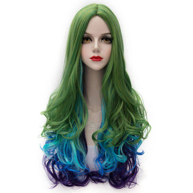 Lolita Long Synthetic Fashion Multicolor Gradient Fluffy Wavy Centre Part Women's Party Wig