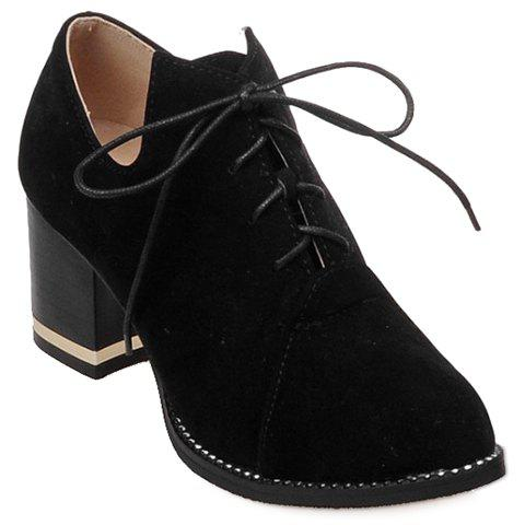 Casual Lace-Up and Suede Design Pumps For Women - BLACK 38
