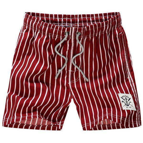Straight Leg Drawstring Vertical Patch Pocket Stripes Print Men's Board Shorts