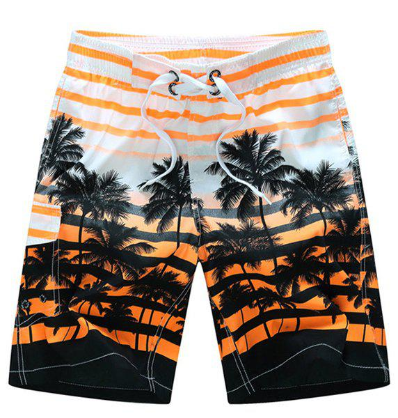 Straight Leg Drawstring Patch Pocket Coconut Palm Print Men's Board Shorts - ORANGE M