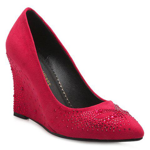 Sweet Suede and Pointed Toe Design Wedge Shoes For Women - RED 36