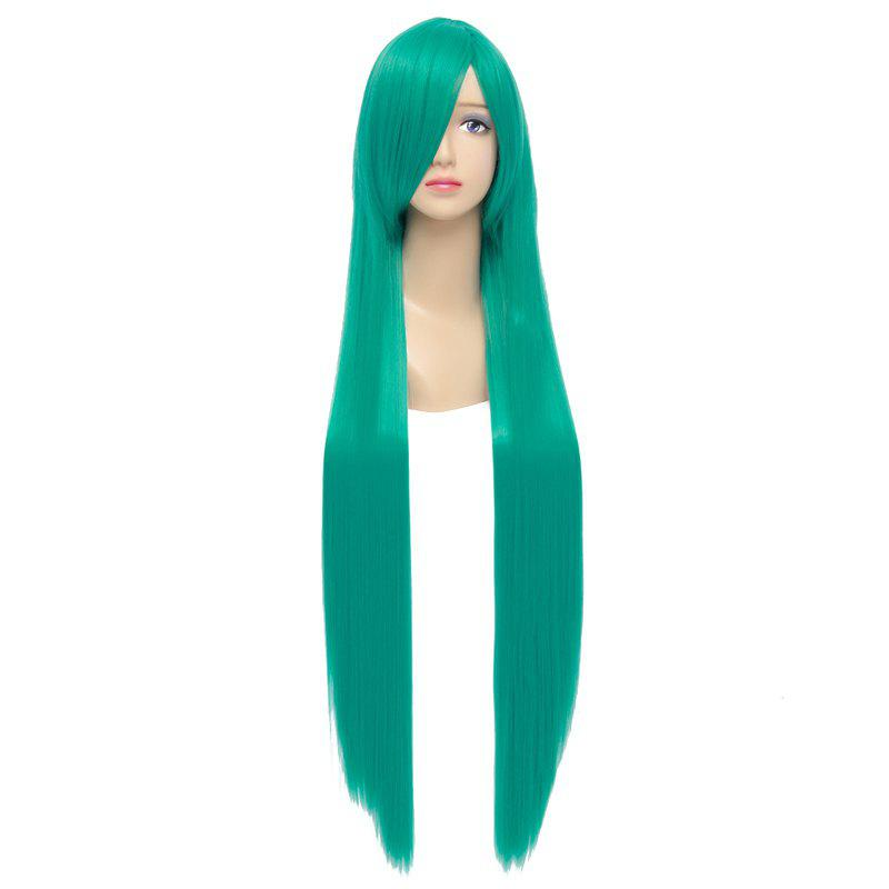 Charming Extra Long Capless Green Silky Straight Synthetic Hatsune Miku Cosplay Wig free shippng fashion vocaloid hatsune miku dark green cosplay wig