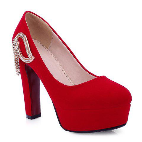 Sweet Flock and Chunky Heeled Design Pumps For Women - RED 39