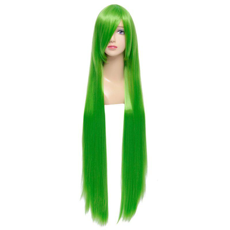 Code Geass Silky Straight Fashion Green Capless Extra Long Synthetic Cosplay Wig