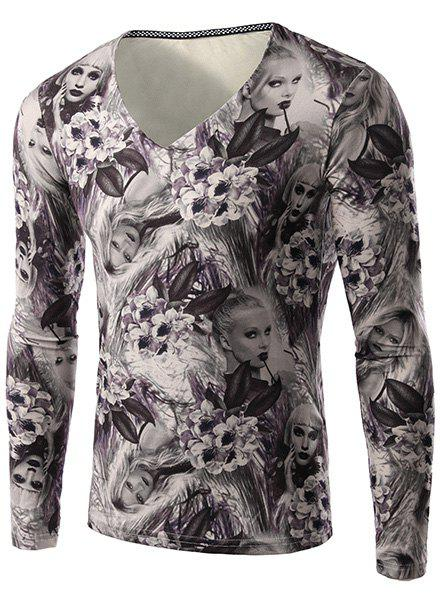 Flower and Beauty Pattern Slimming V-Neck Long Sleeves Men's 3D Printed T-Shirt - COLORMIX M