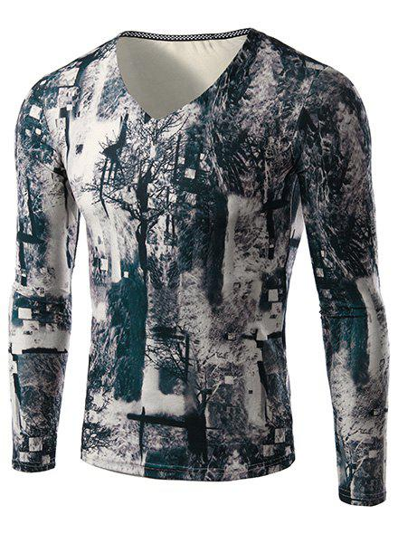 Modish V-Neck 3D Mysterious Forest Print Long Sleeves Men's Slimming T-Shirt