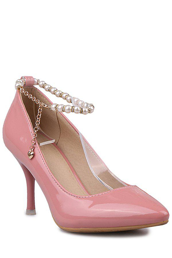 Elegant Ankle Strap and Beading Design Pumps For Women - PINK 36