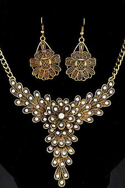 A Suit of Rhinestone Flower Decorated Necklace and Earrings - GOLDEN