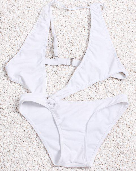 Sexy Style Plunging Neck Solid Color One-Piece Women's Bikini Set - M WHITE