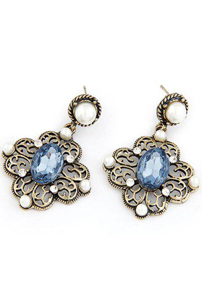 Pair of Retro Faux Pearl Hollow Out Flower Earrings - BLUE
