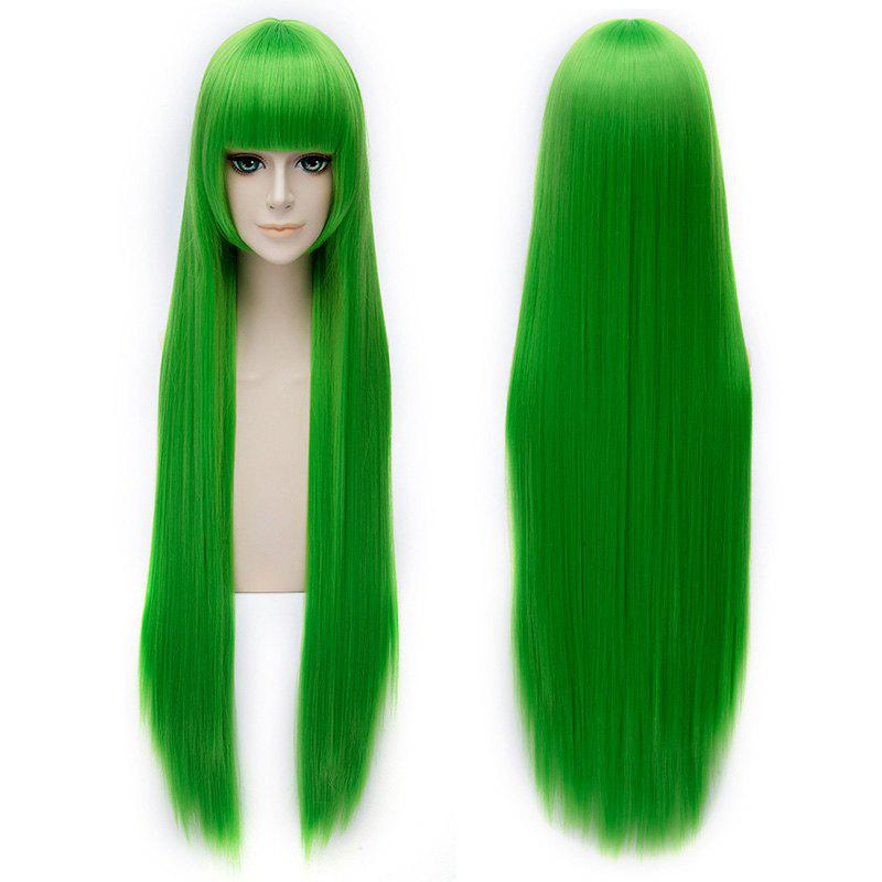 Trendy Silky Straight Green Full Bang 100CM Extra Long Synthetic Code Geass Cosplay Wig