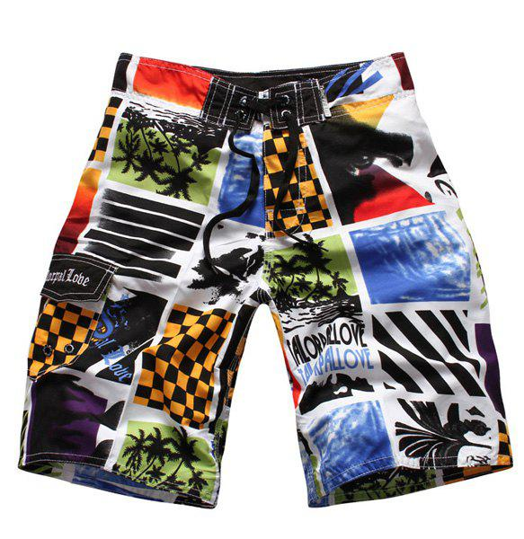 Straight Leg Color Block Splicing Letters Print Drawstring Men's Board Shorts