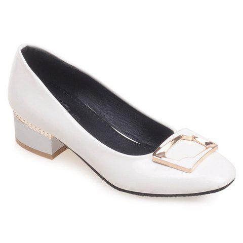 Fresh Style Patent Leather and Chunky Heeled Design Pumps For Women - WHITE 39