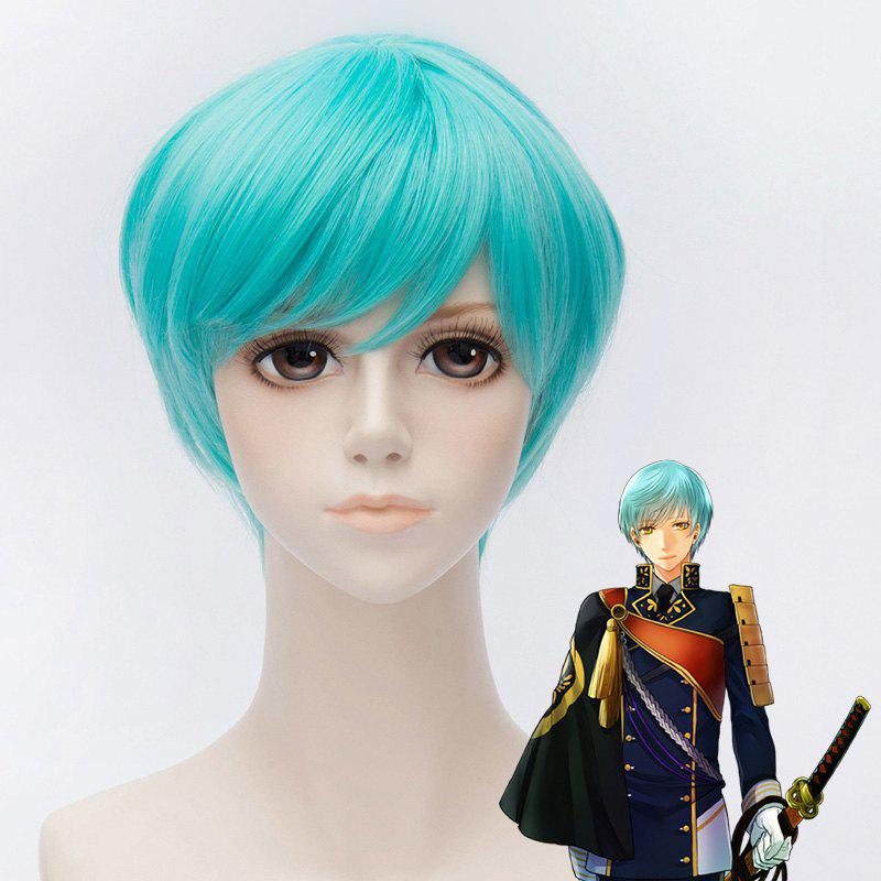 Stylish Straight Synthetic Short Blue Side Bang Ichigo Hitofuri Cosplay Wig - BLUE