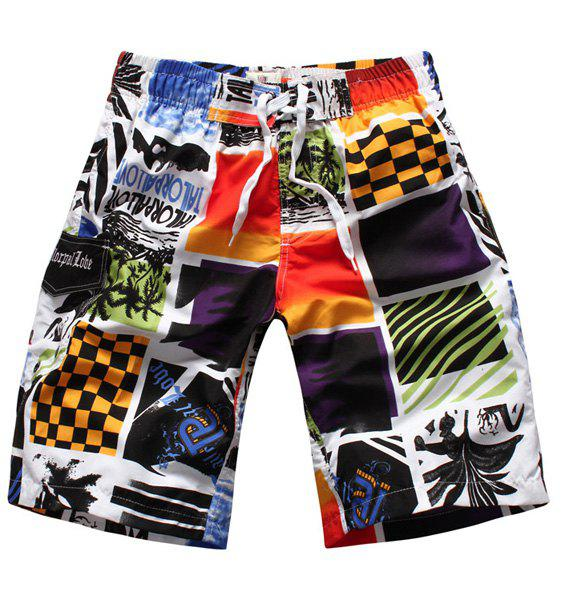 Straight Leg Color Block Splicing Letters Print Elastic Waist Men's Board Shorts - COLORMIX M