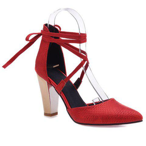 Elegant Tie Up and PU Leather Design Pumps For Women - RED 36