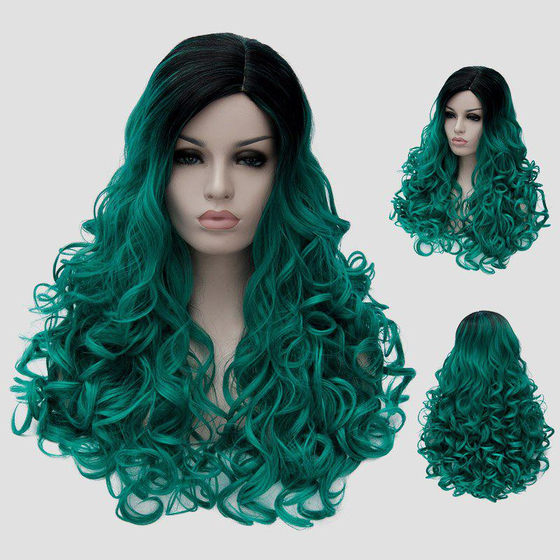 Fluffy Curly Synthetic Stunning Long Black Green Gradient Women's Party Wig - BLACK/GREEN