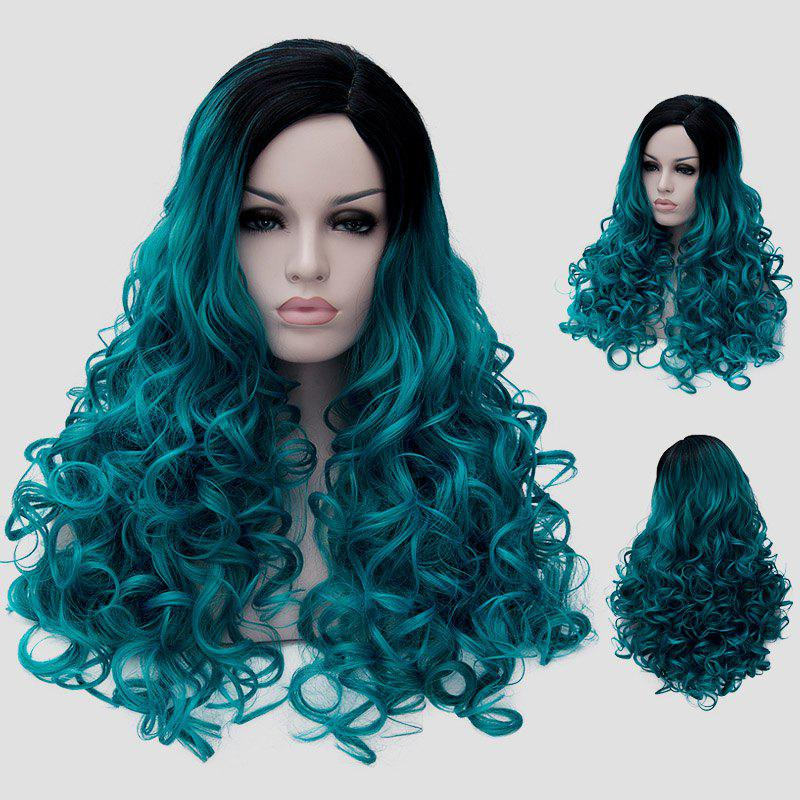 Fluffy Curly Synthetic Trendy Black Turquoise Gradient Long Universal Party Wig For Women - BLACK/GREEN