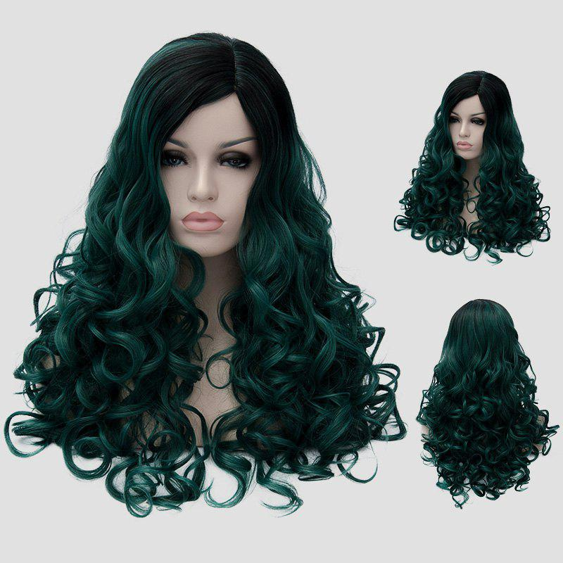 Fluffy Curly Black Ombre Blackish Green Synthetic Gorgeous Long Party Wig For Women - BLACK/GREEN