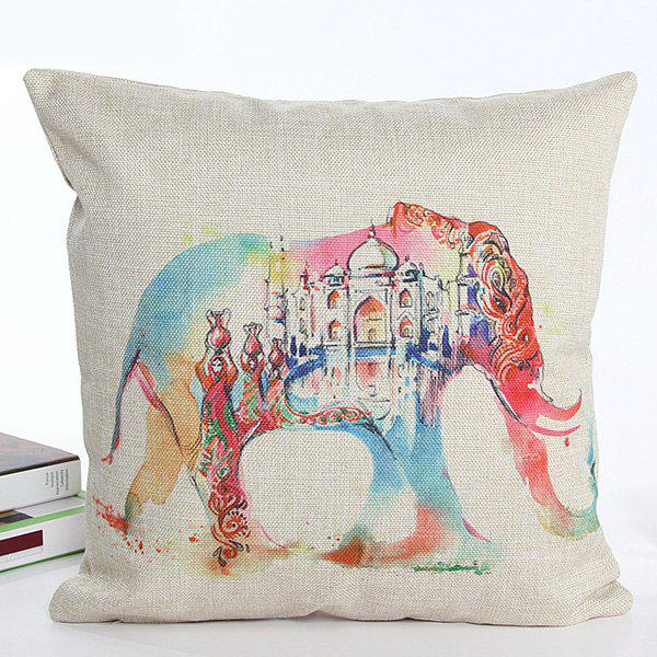 High Quality Square Shape Colorful Cartoon Elephant Pattern Flax Pillow Case(Without Pillow Inner)