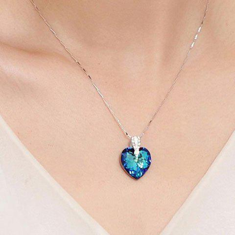 Charming Rhinestone Faux Crystal Sea Heart Necklace For Women