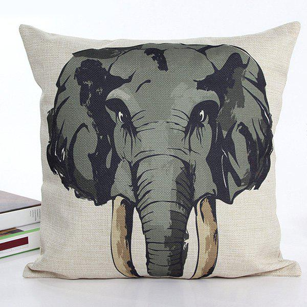 High Quality Square Shape Colorful Cartoon Elephant Pattern Printed Flax Pillow Case(Without Pillow Inner) - COLORMIX
