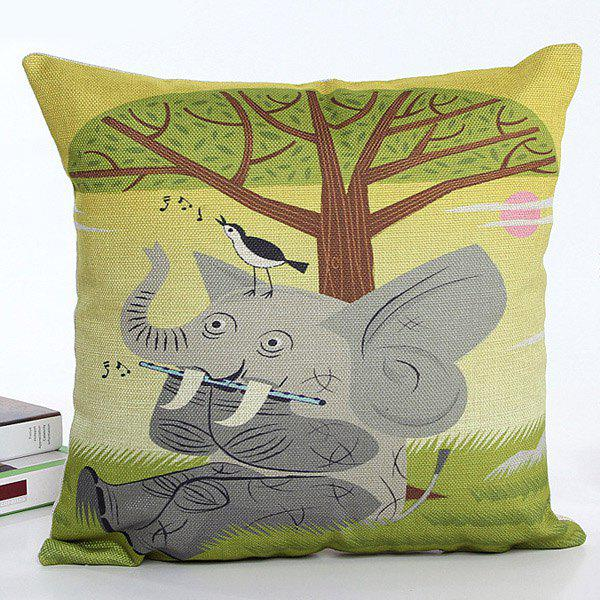 High Quality Square Shape Cartoon Elephant Pattern Printed Flax Pillow Case(Without Pillow Inner) - COLORMIX