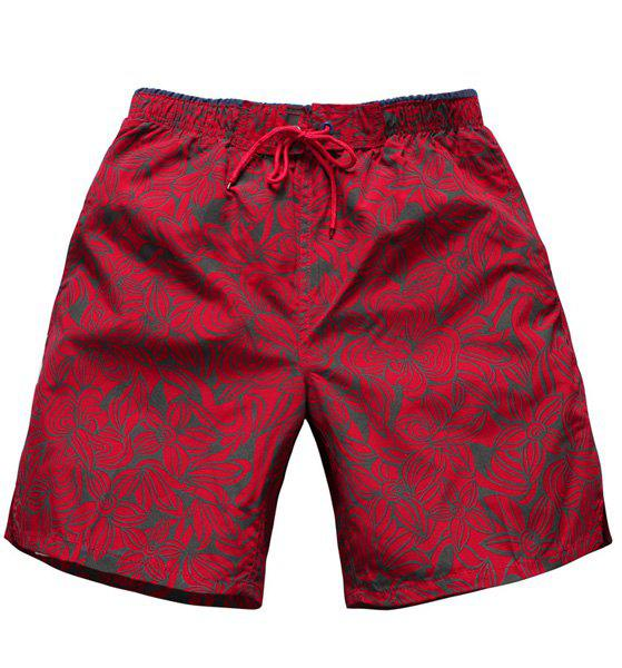 Straight Leg Drawstring Floral Print Men's Board Shorts - RED L