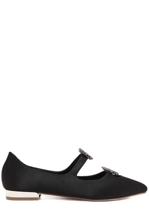 Trendy Square Buckles and Pointed Toe Design Flat Shoes For Women - BLACK 38