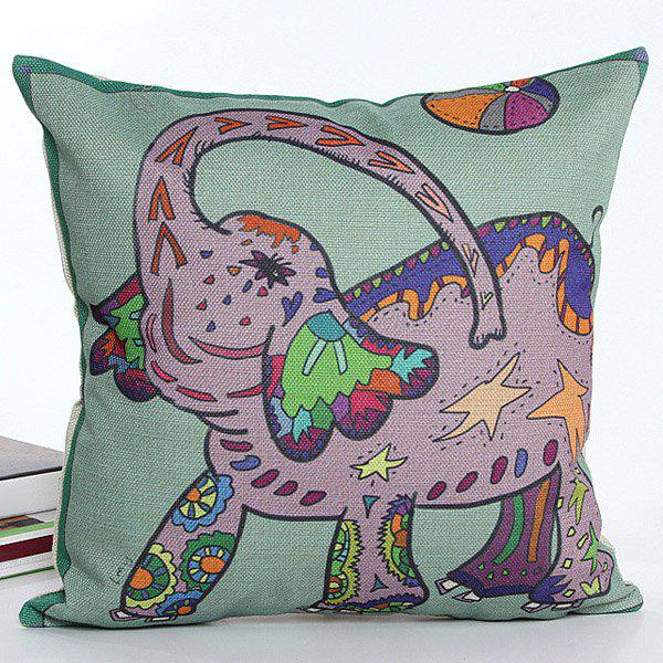 High Quality Colorful Cartoon Elephant Pattern Printed Square Shape Flax Pillow Case(Without Pillow Inner)