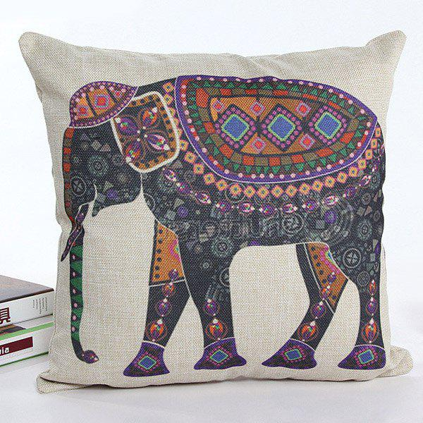 High Quality Colorful Cartoon Elephant Printed Square Shape Flax Pillow Case(Without Pillow Inner) - COLORMIX
