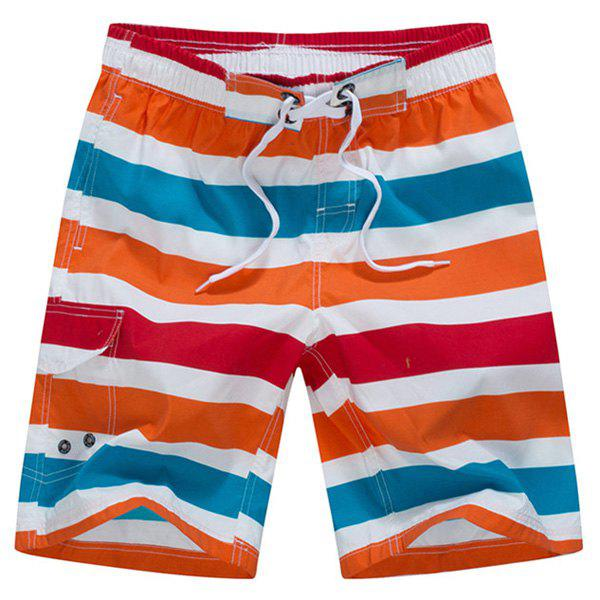 Straight Leg Color Block Stripes Spliced Drawstring Men's Board Shorts - STRIPE M
