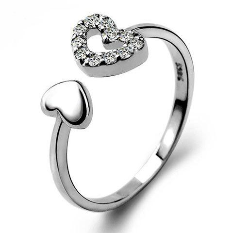 Noble Rhinestone Heart Cuff Ring For Women - SILVER ONE-SIZE