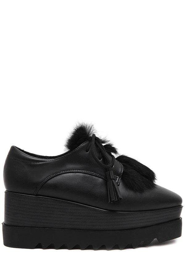 Casual Square Toe and Faux Fur Design Platform Shoes For Women - BLACK 39