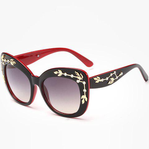 Chic Rhinestone and Leaf Shape Embellished Women's Black and Red Sunglasses - RED/BLACK