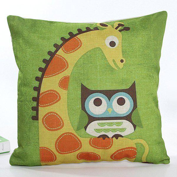 High Quality Square Shape Colorful Cartoon Owl and Giraffe Pattern Printed Flax Pillow Case ( Without Pillow Inner )