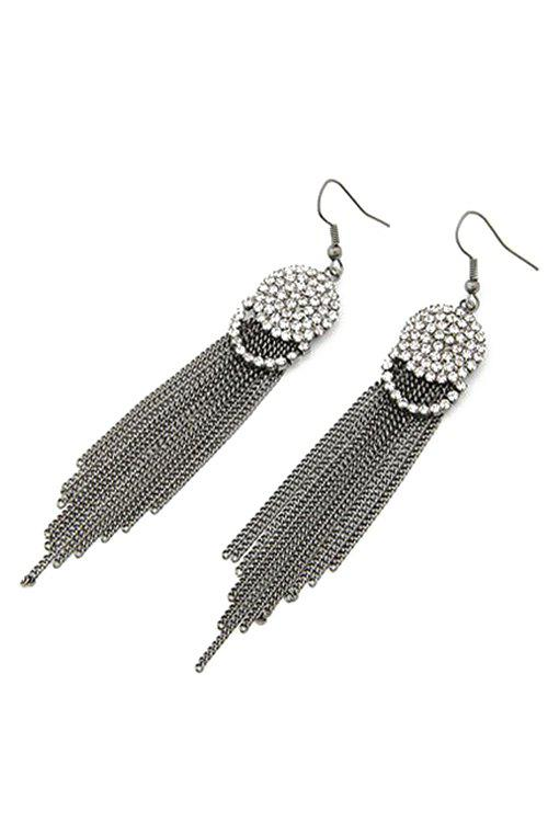 Pair of Punk Rhinestone Link Chain Tassel Earrings - GUN METAL