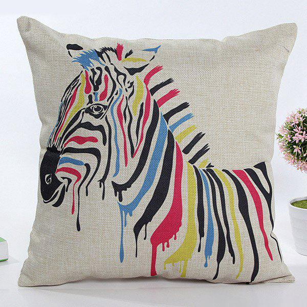 High Quality Square Shape Colorful Cartoon Zebra Pattern Flax Pillow Case(Without Pillow Inner)