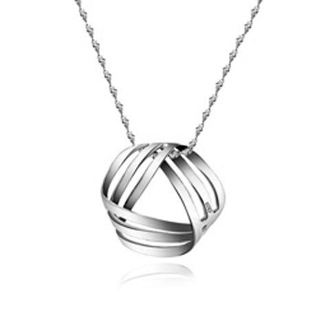 Hollow Out Geometric Pendant Necklace - SILVER