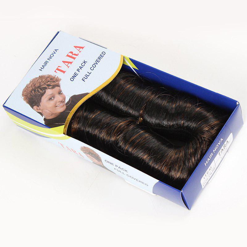 Fashion Black Brown Mixed African Style Synthetic Hair Weft Hair Extension For Women - COLORMIX