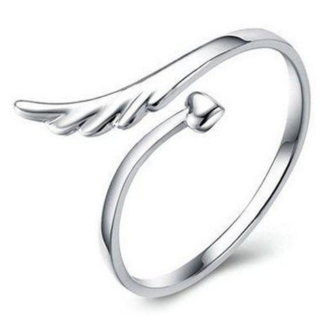Graceful Heart Wing Cuff Ring For Women - ONE-SIZE SILVER