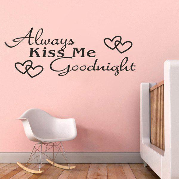 High Quality Black Letter Heart Pattern Removeable Wall Stickers