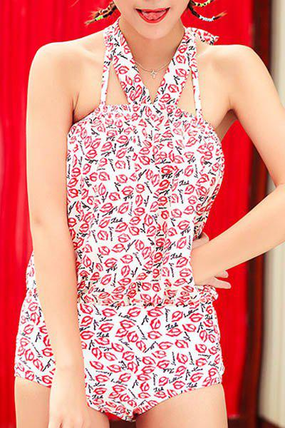 Sexy Halter Sleeveless Printed Two Piece Swimsuit For Women - WHITE M