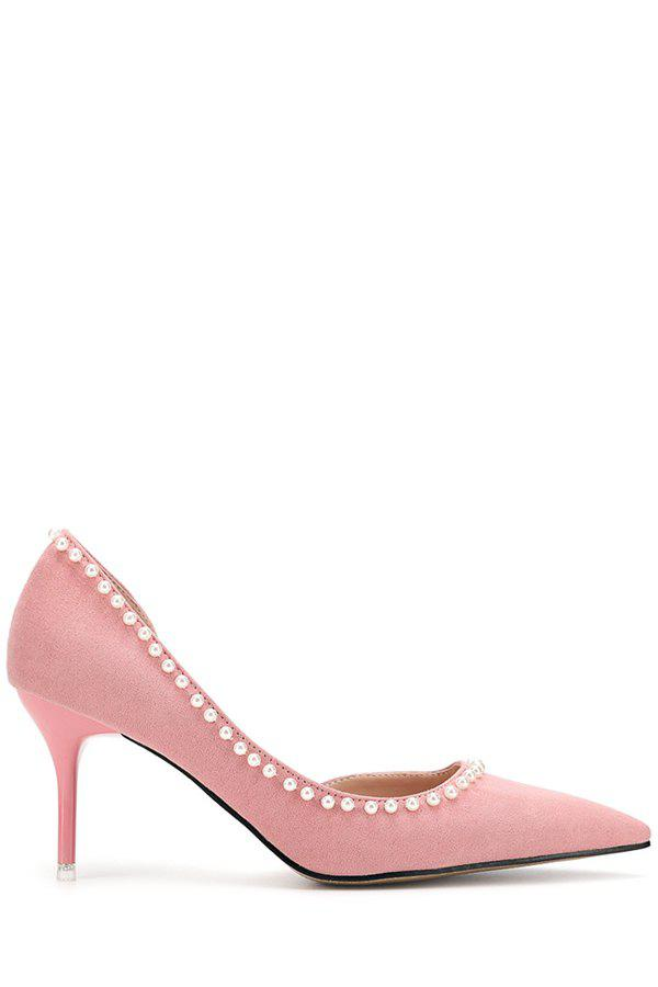 Elegant Beads and Flock Design Pumps For Women - PINK 35